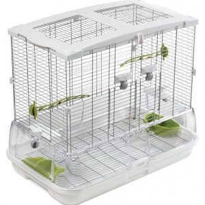 "Select a spacious cage. Pacific parrotlets are very active and need plenty of room to fly around. A cage measuring 18"" x 18"" x 18"" is the minimum for one bird. For more than one, you'll need to get even larger cages (28"" x 24"" x 36"" for two birds). The cage should have around 3/8-1/2 inch bar space (the spaces between the bars), so that the parrotlet can't get out unattended or get their heads stuck in between the bars."